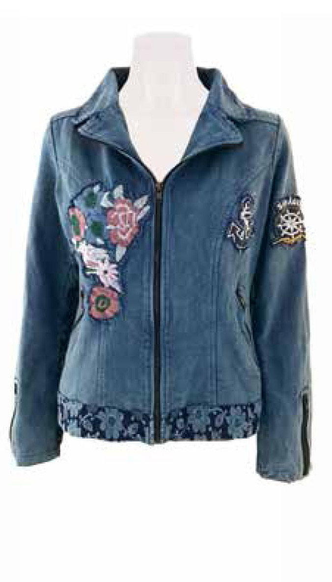 Savage Culture: Soft Denim Roses Zip Up Bomber Jacket Capri