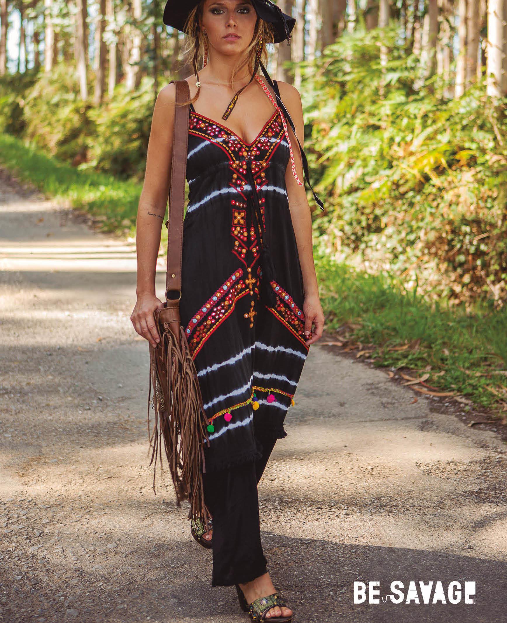 Savage Culture: Sweetheart Fringed Fit & Flare Maxi Dress Portofino II SAVAGE_34131