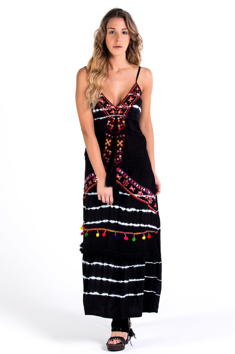 Savage Culture: Sweetheart Fringed Fit & Flare Maxi Dress Portofino II