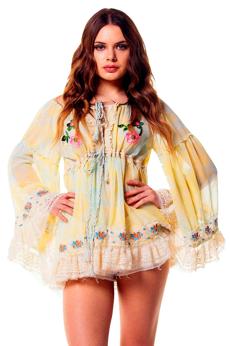Savage Culture: Ruffled Baby Doll Petal Tunic Sicilia SAVAGE_34062