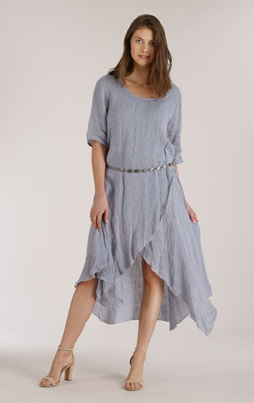 6bc1b474bc Luna Luz  Romantic Linen Gauze Faux Wrap Asymmetrical Dress ...