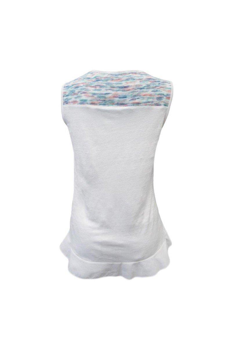 Maloka: Snowy Sky Asymmetrical Ruffled Hem Linen Tunic