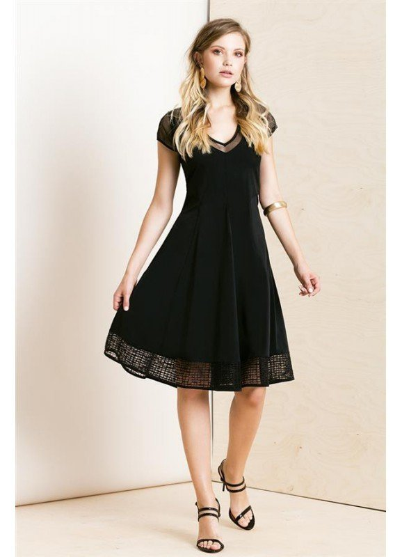 Maloka: Mesh Capped Sleeve Fit & Flare Party Dress (More Colors!) MK_KUALA
