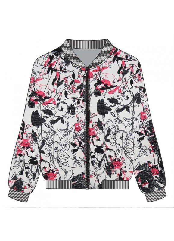 Maloka: Pink Fantasy Zip Up Bomber Jacket