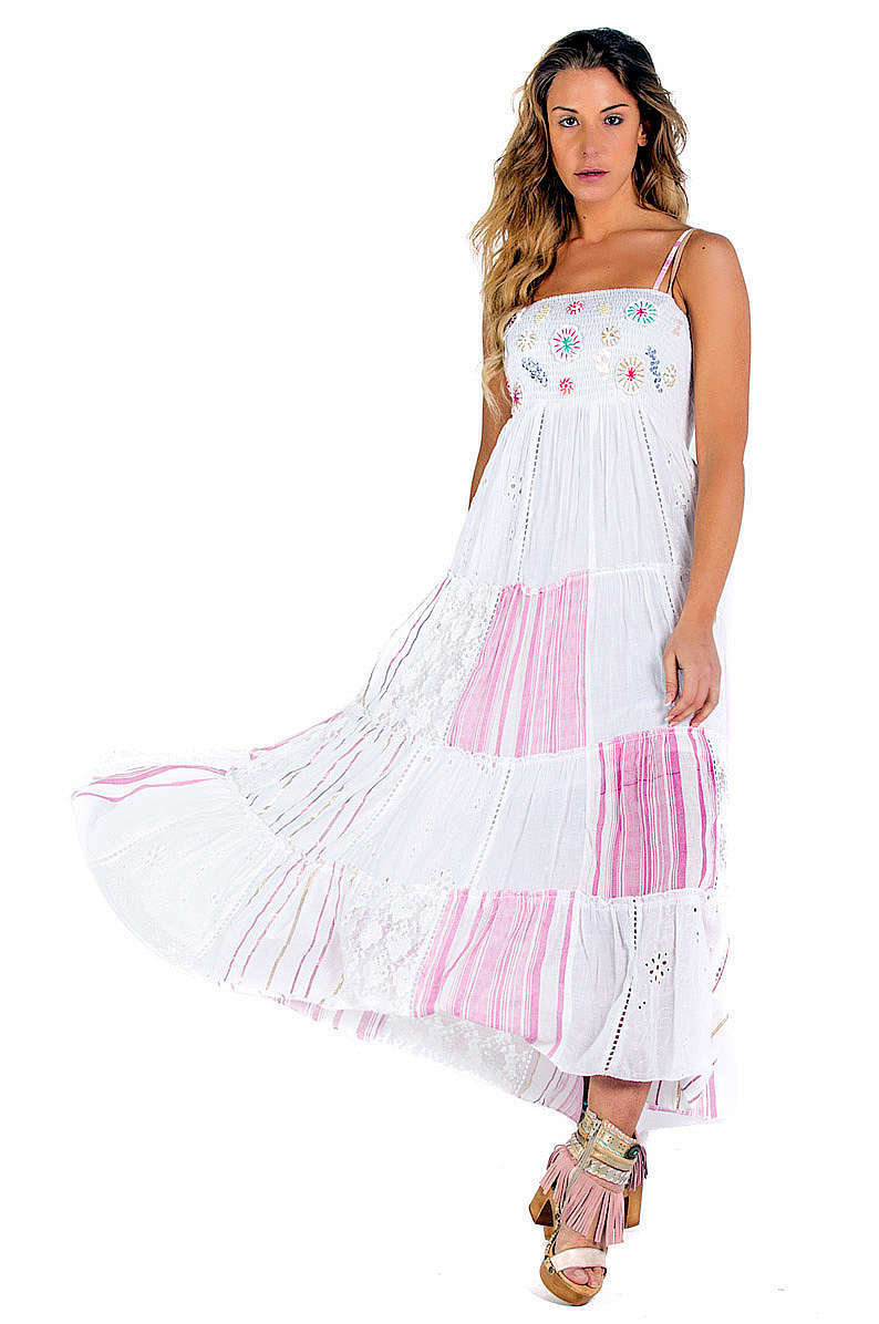 Savage Culture: Fuchsia Daisies Embroidered Maxi Dress SVG_34630