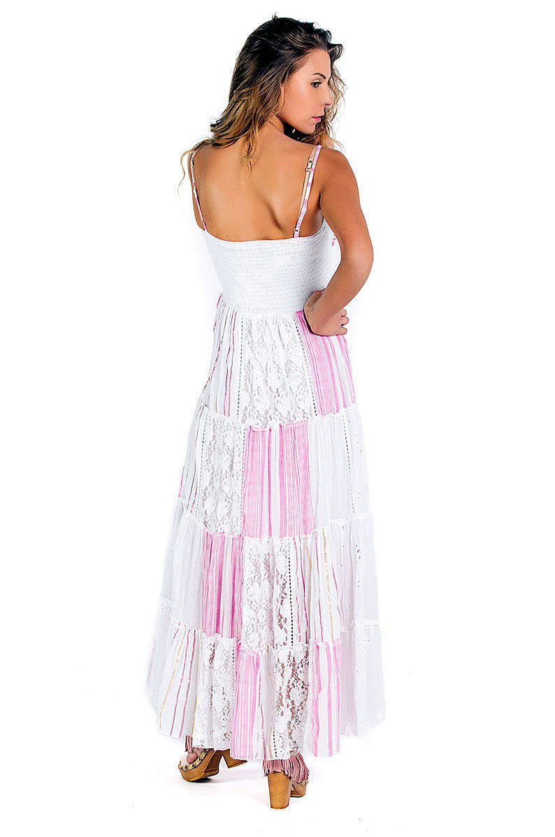Savage Culture: Fuchsia Daisies Embroidered Maxi Dress