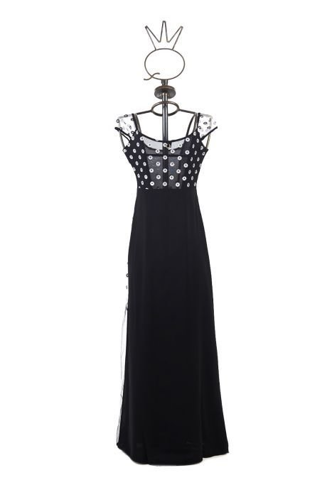 Save The Queen: Embroidered Daisies Tuxedo Tulle Long Dress