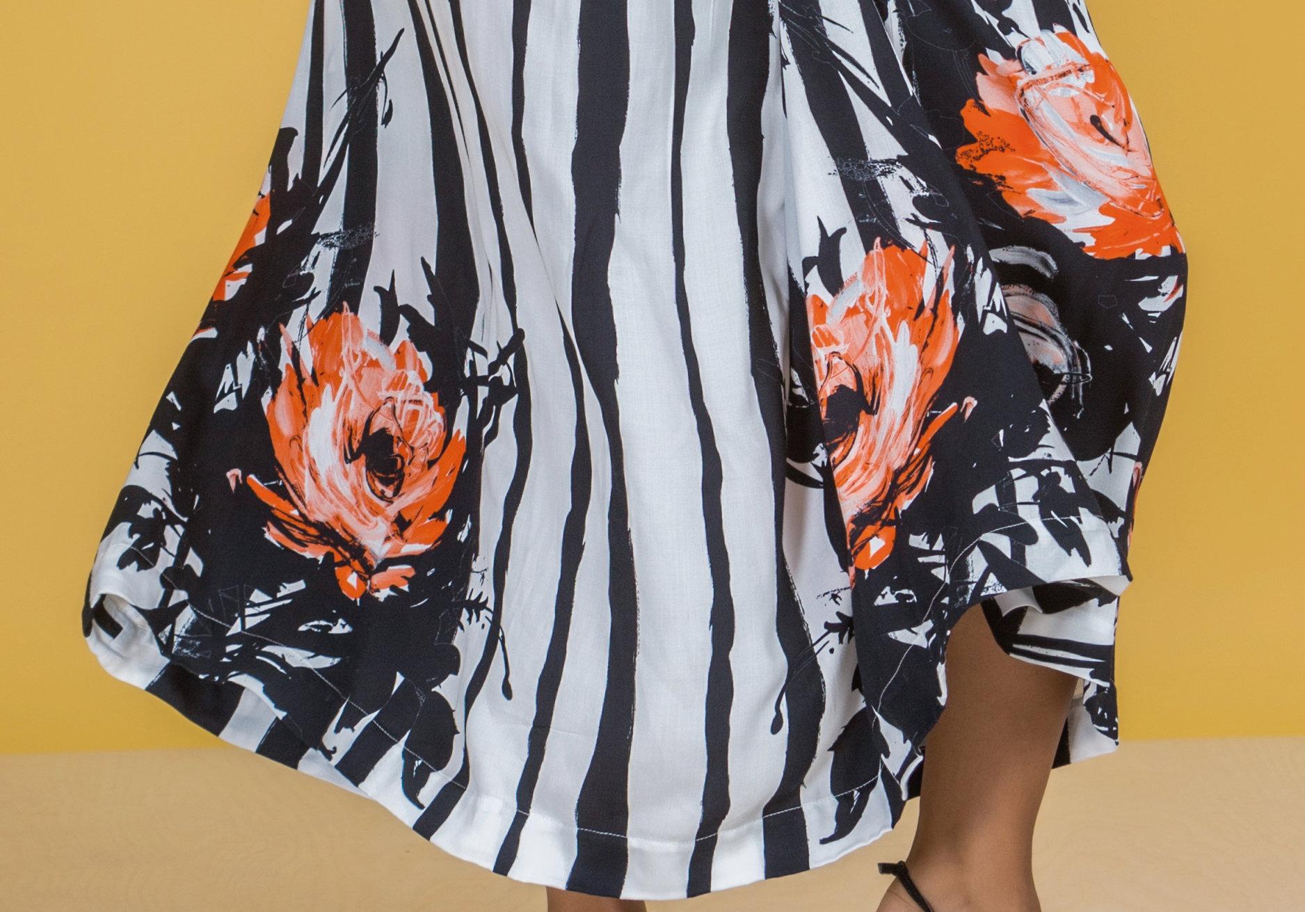 Paul Brial: Wild Orange Rose Hem Plunge Neck Flare Tuxedo Gown
