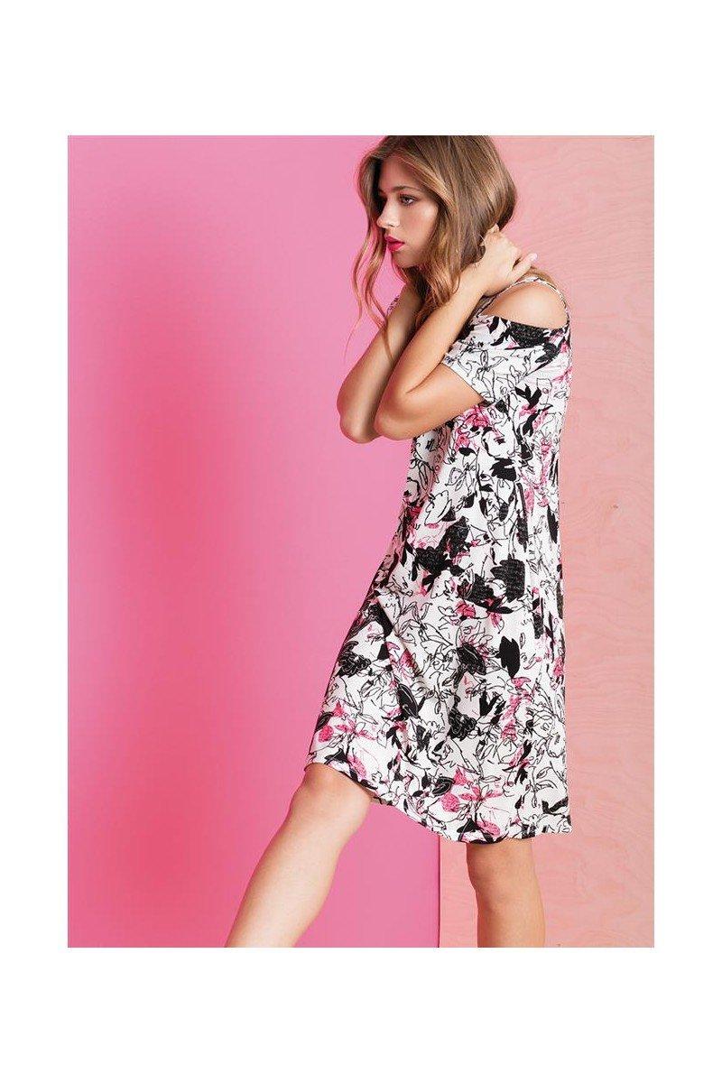 Maloka: Hot Pink Fantasy Cold Shoulder Midi Dress MK_GIULIA
