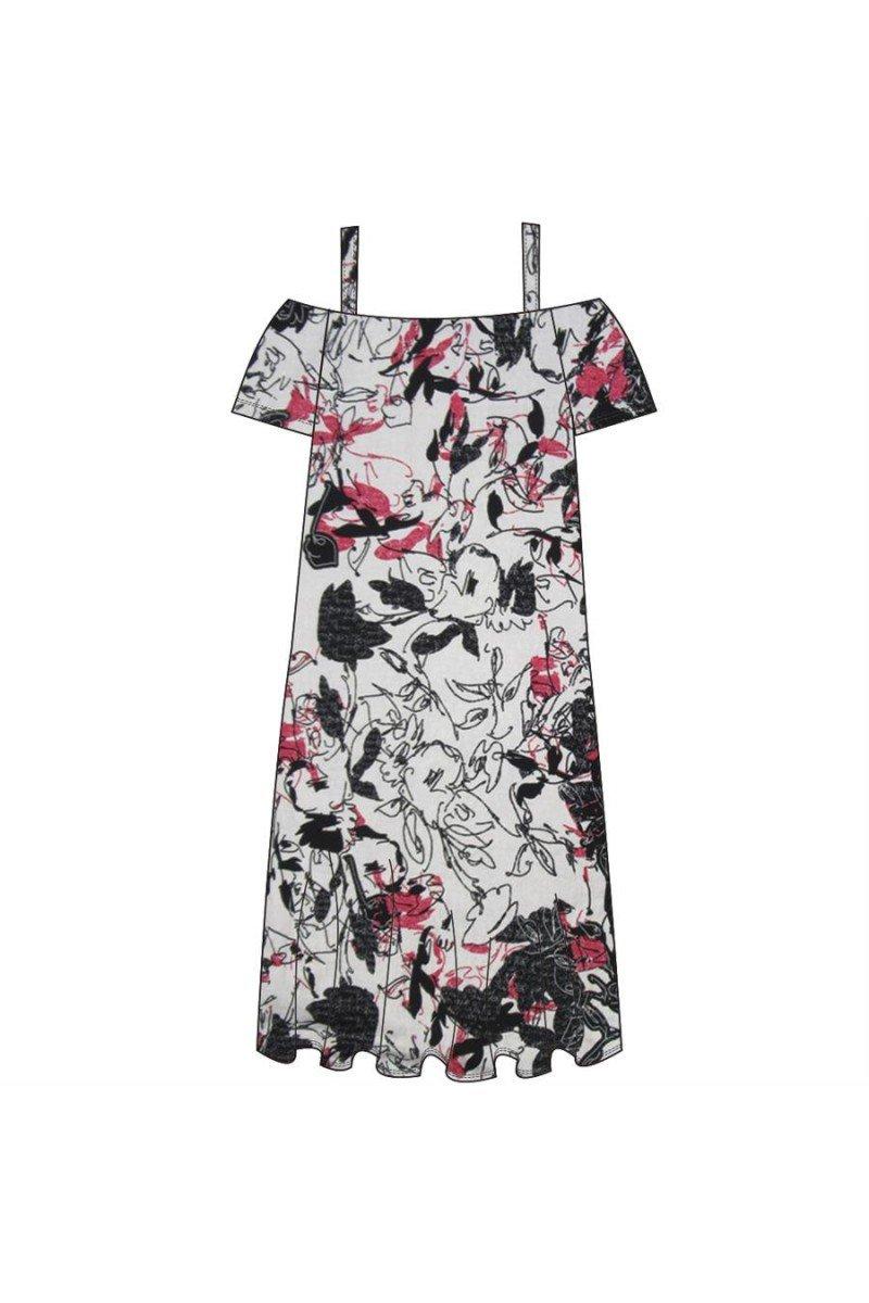 Maloka: Hot Pink Fantasy Cold Shoulder Midi Dress