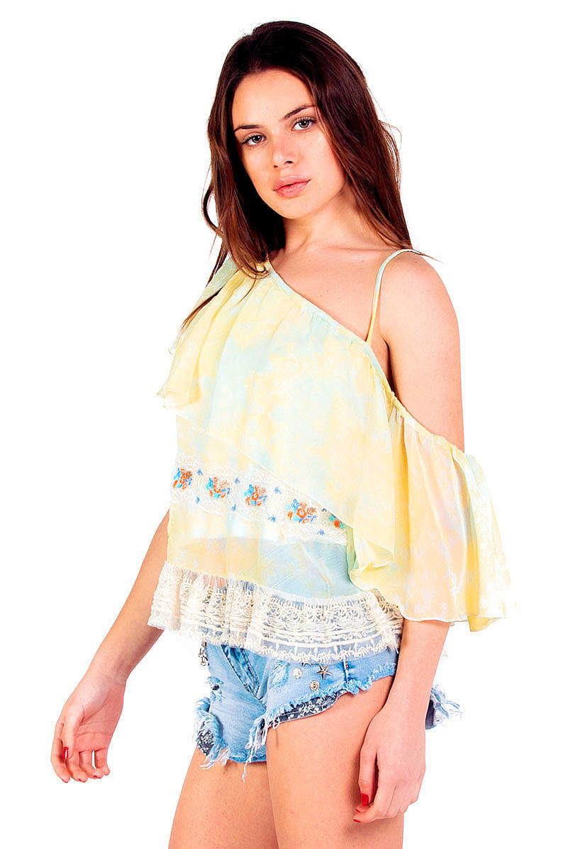 Savage Culture: So Sweet One Shoulder Ruffled Baby Doll Tunic Sicilia