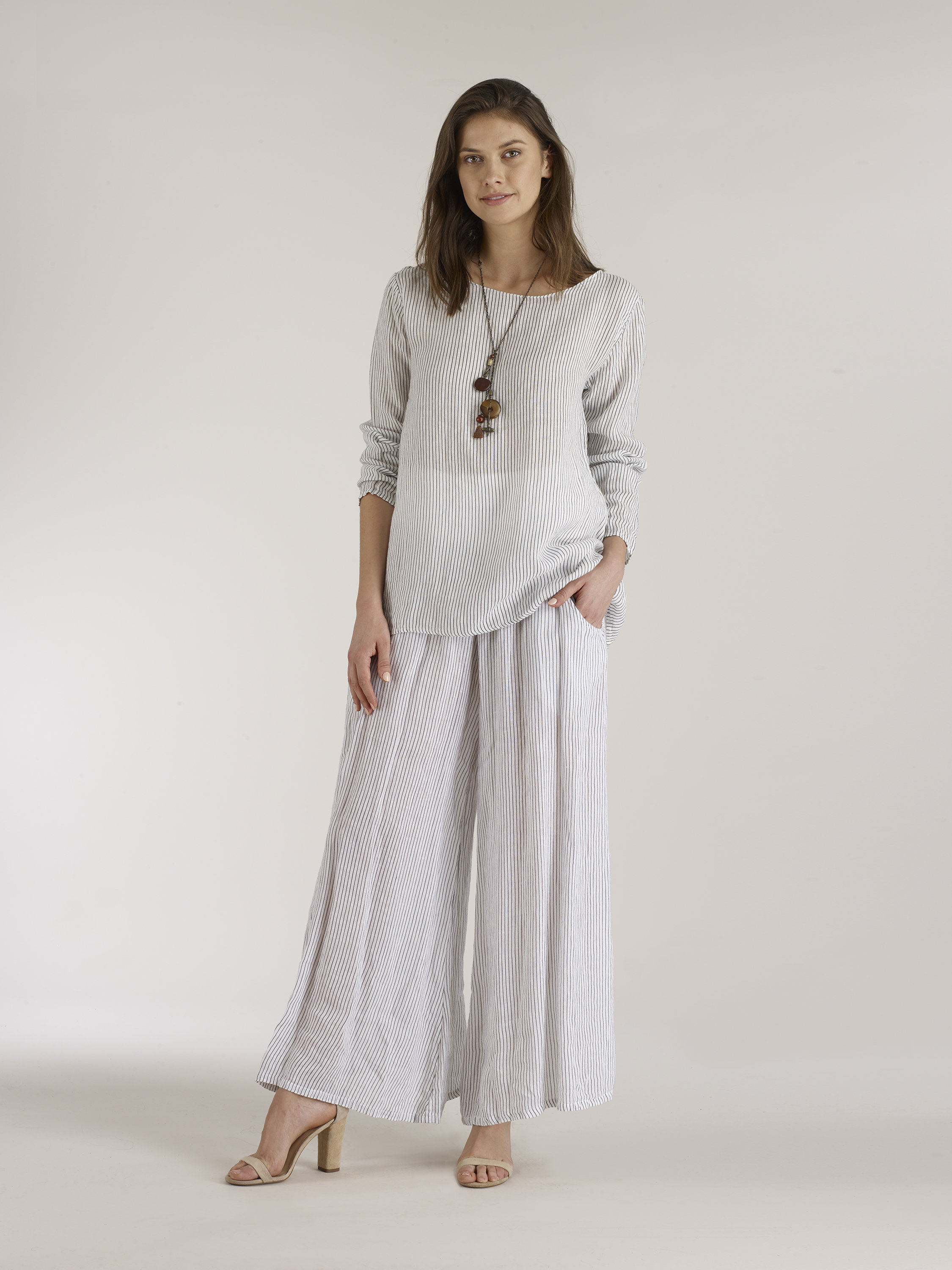 Luna Luz: Stripe Wide Leg Linen Pant (Ship Immed, 1 Left!)