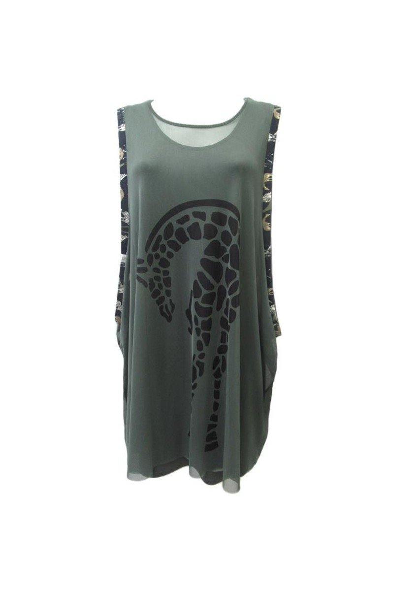 Maloka: Very Sexy Olive Martini Imprints Babydoll Dress/Tunic (Few Left!)