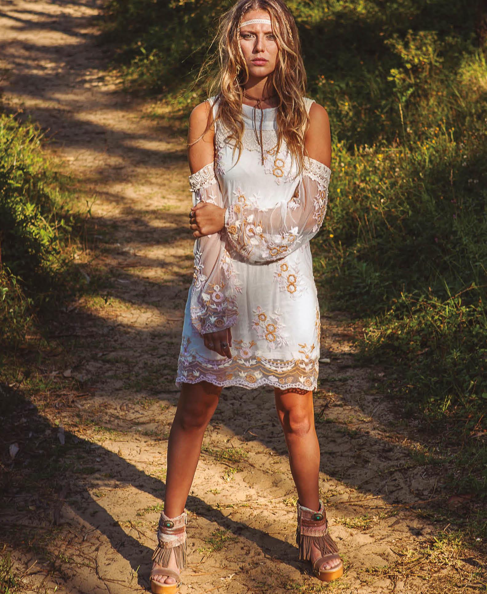 Savage Culture: Embroidered Lace Cold Shoulder Midi Dress Toscana I SAVAGE_34040