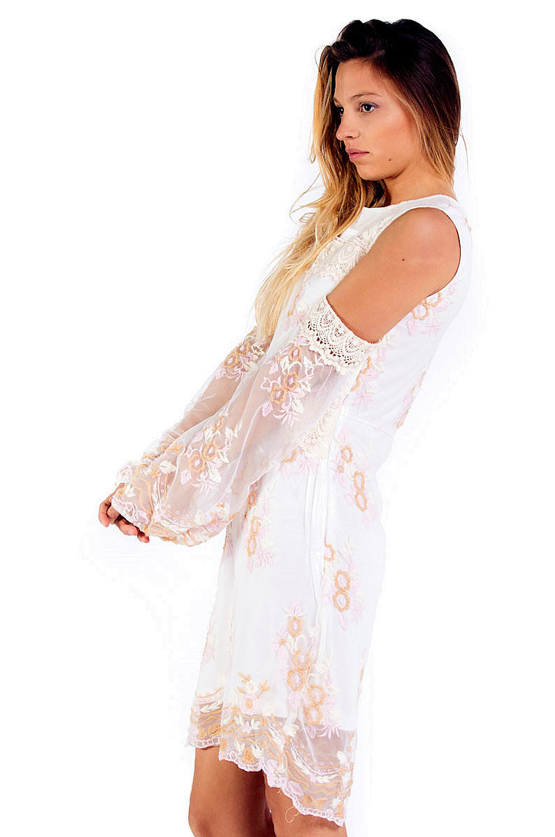 Savage Culture: Embroidered Lace Cold Shoulder Midi Dress Toscana I