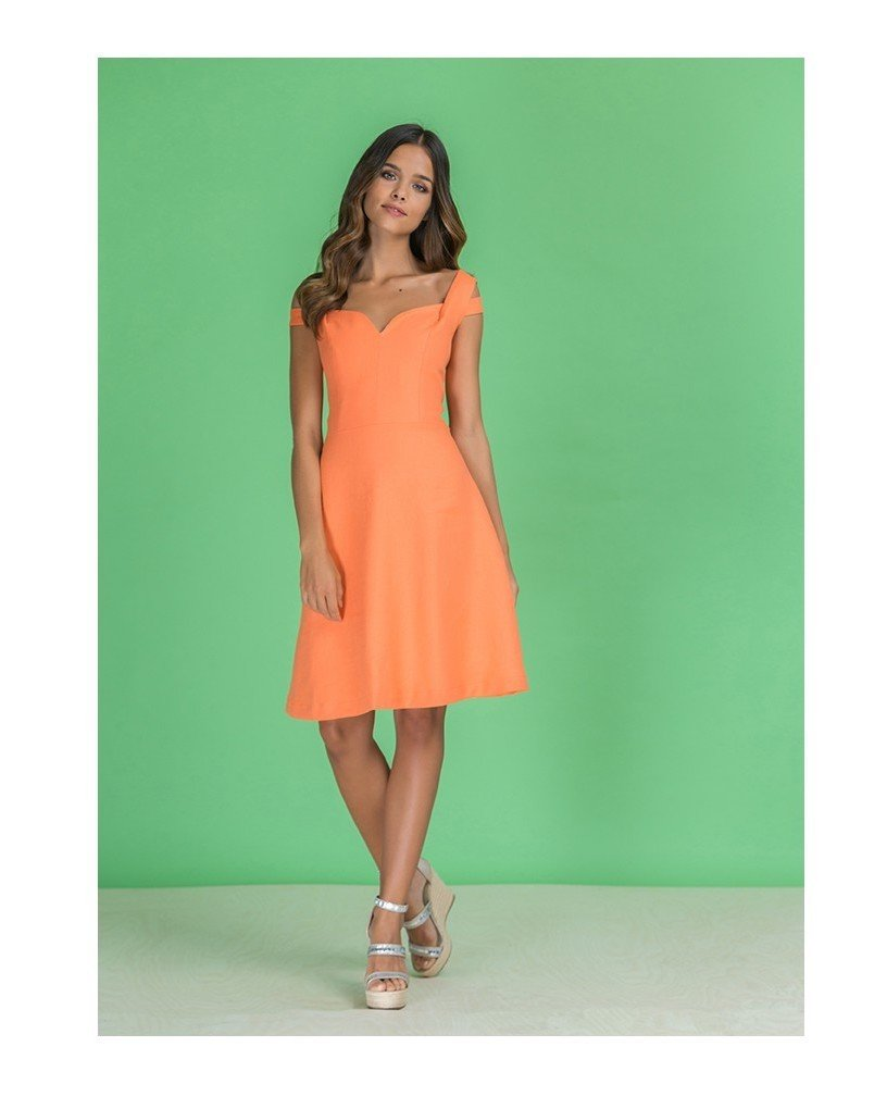 Paul Brial: Sweetheart Bodice Cold Shoulder Midi Melon Dress (More Colors!) PB_CLOTHILDE