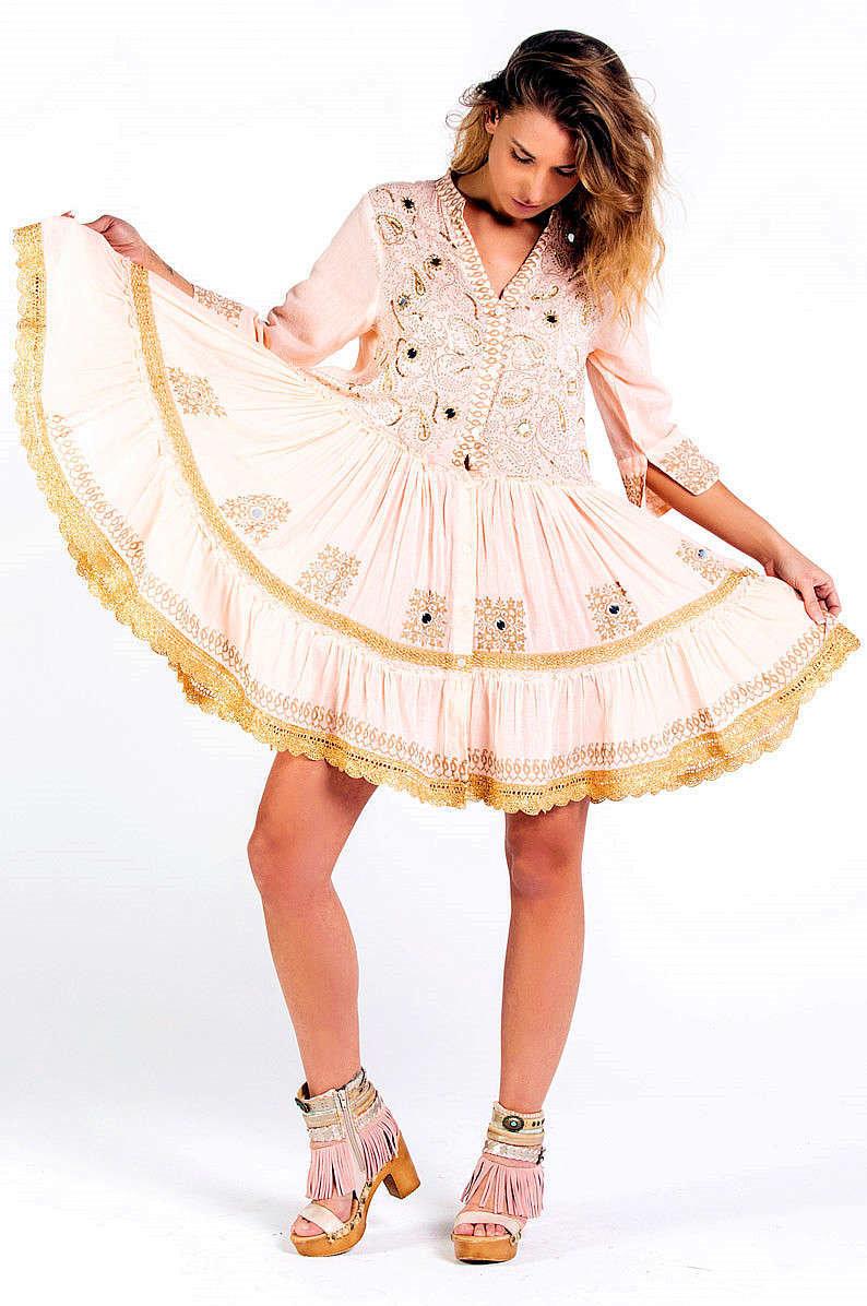 Savage Culture: Pink Pleated Arabesque T-shirt Dress Cala Portinax I SVG_34643