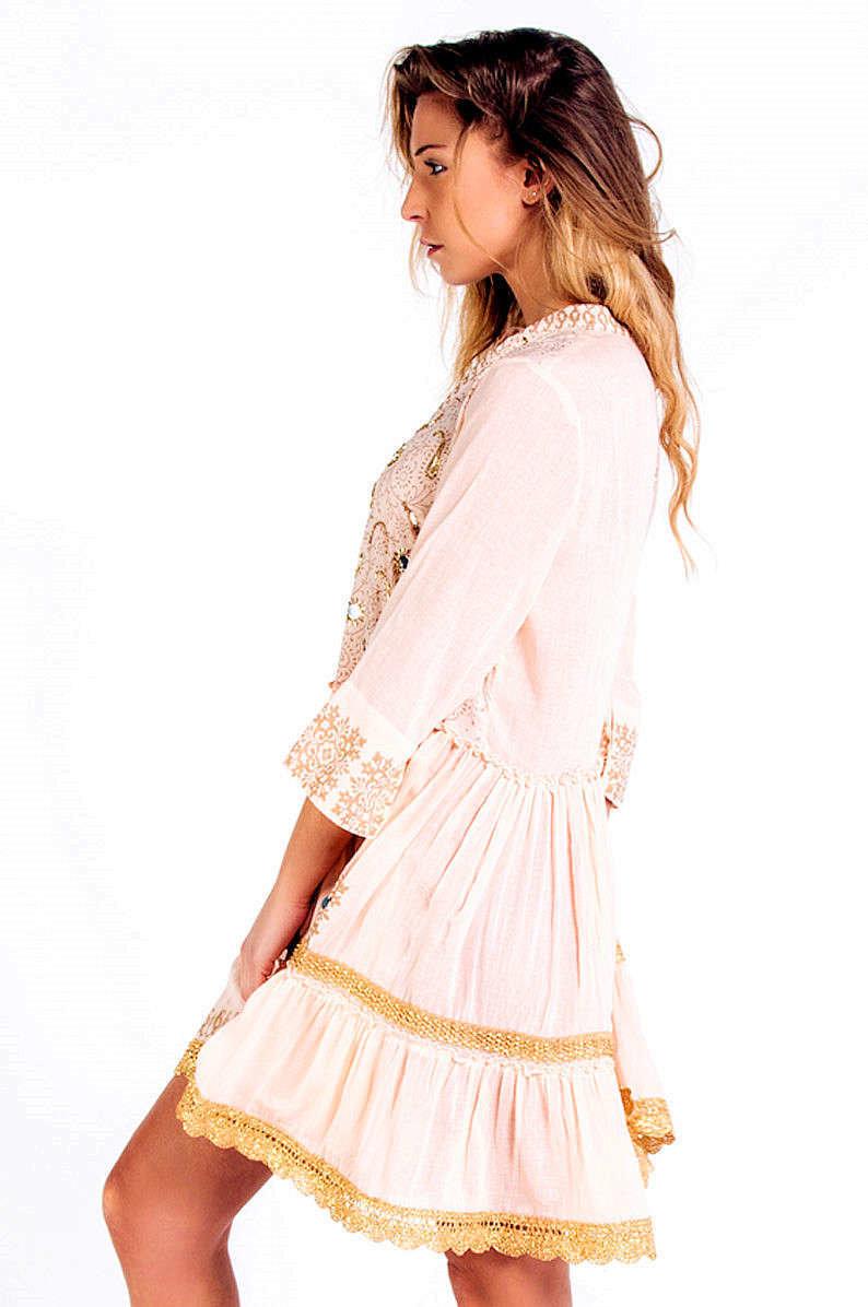 Savage Culture: Pink Pleated Arabesque T-shirt Dress Cala Portinax I