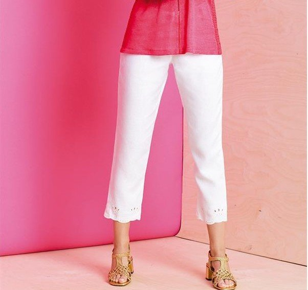 Maloka: Elegant Petal Embroidered Cropped Linen Pant (More Colors!) MK_POLLY