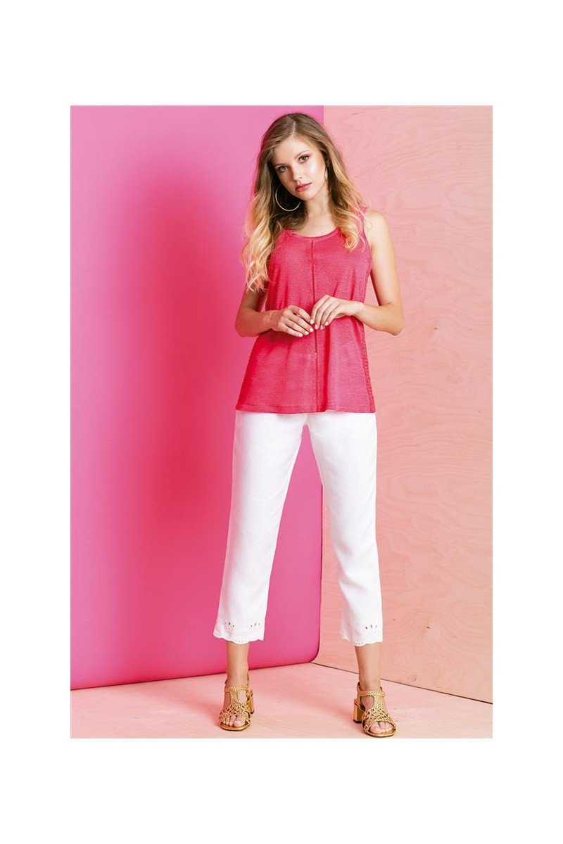 Maloka: Elegant Petal Embroidered Cropped Linen Pant (More Colors!)