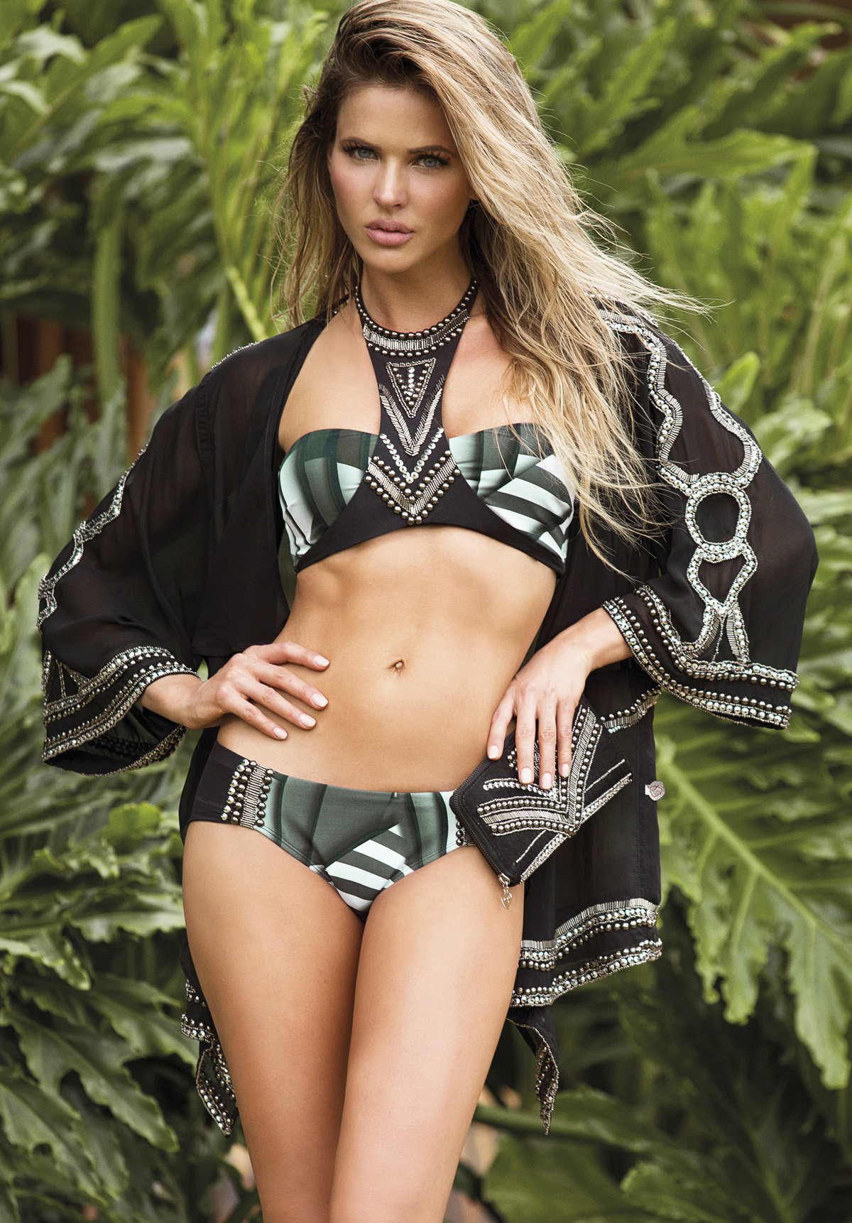 Paradizia Swimwear: Black Onyx Cutout Bikini Top (Shown with Matching Onyx Bottoms!)