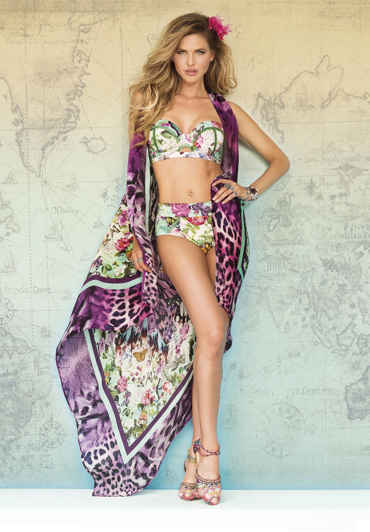 Paradizia Swimwear: Pink Butterflies Bustier (Shown with Matching High Waisted Bikini Bottoms!)