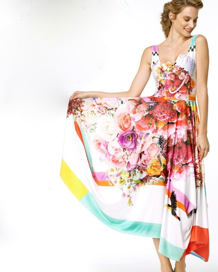IPNG: Basket of Roses Illusion Bodice Fit & Flare Asymmetrical Long Dress SOLD OUT IPNG_BOJDFC-115