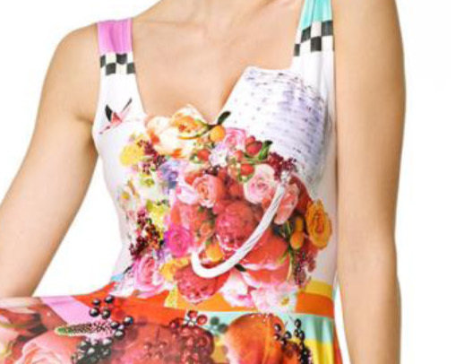 IPNG: Basket of Roses Illusion Bodice Fit & Flare Asymmetrical Long Dress SOLD OUT