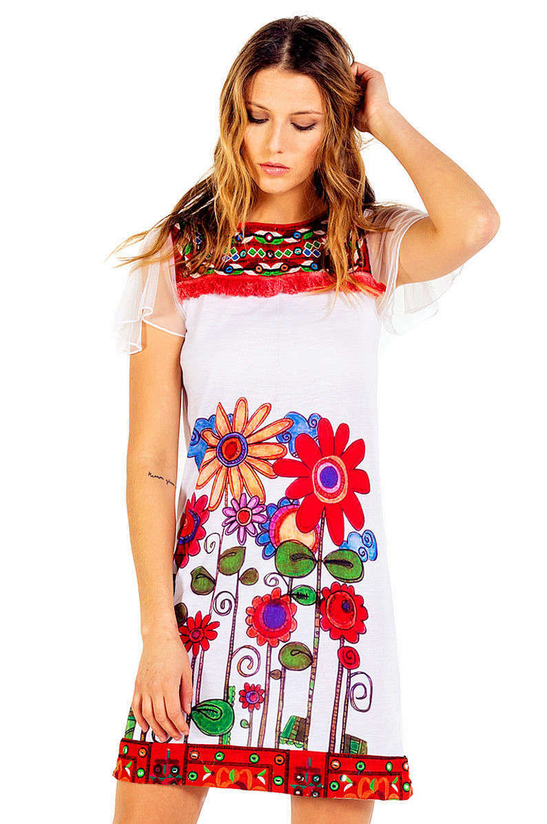 Savage Culture: Red Sunflower Bodice Capped Sleeve Dress Sorrento SAVAGE_34083