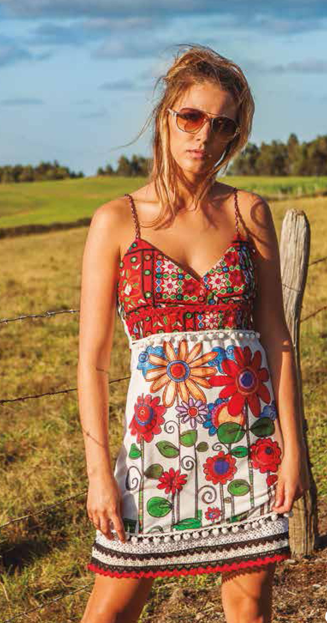 Savage Culture: Red Sunflower Bodice Dress Sorrento SAVAGE_34082
