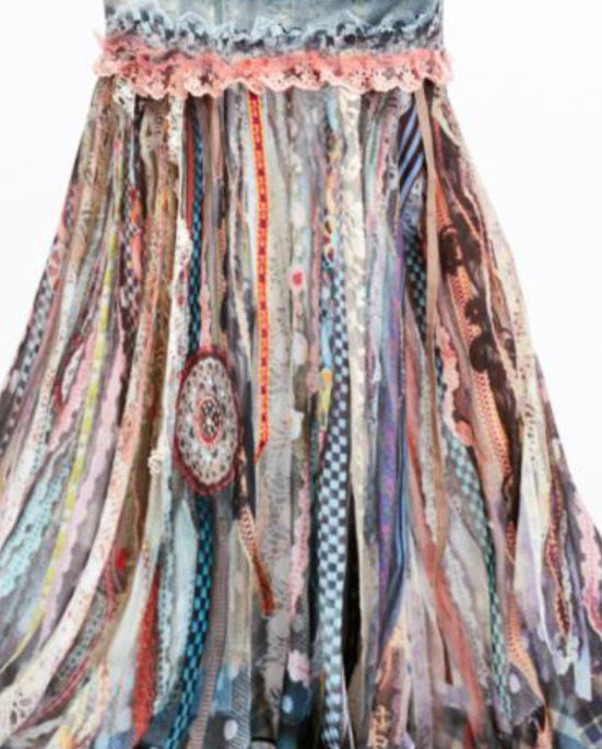 IPNG: Antique Jewels Ribboned Lace Illusion Mermaid Gown Skirt (Ships Immed in S/M!)
