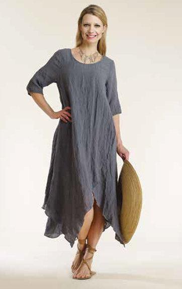Luna Luz: Linen Gauze Swing Faux Wrap Dress (Few Left, Ships Immed!) LL_784