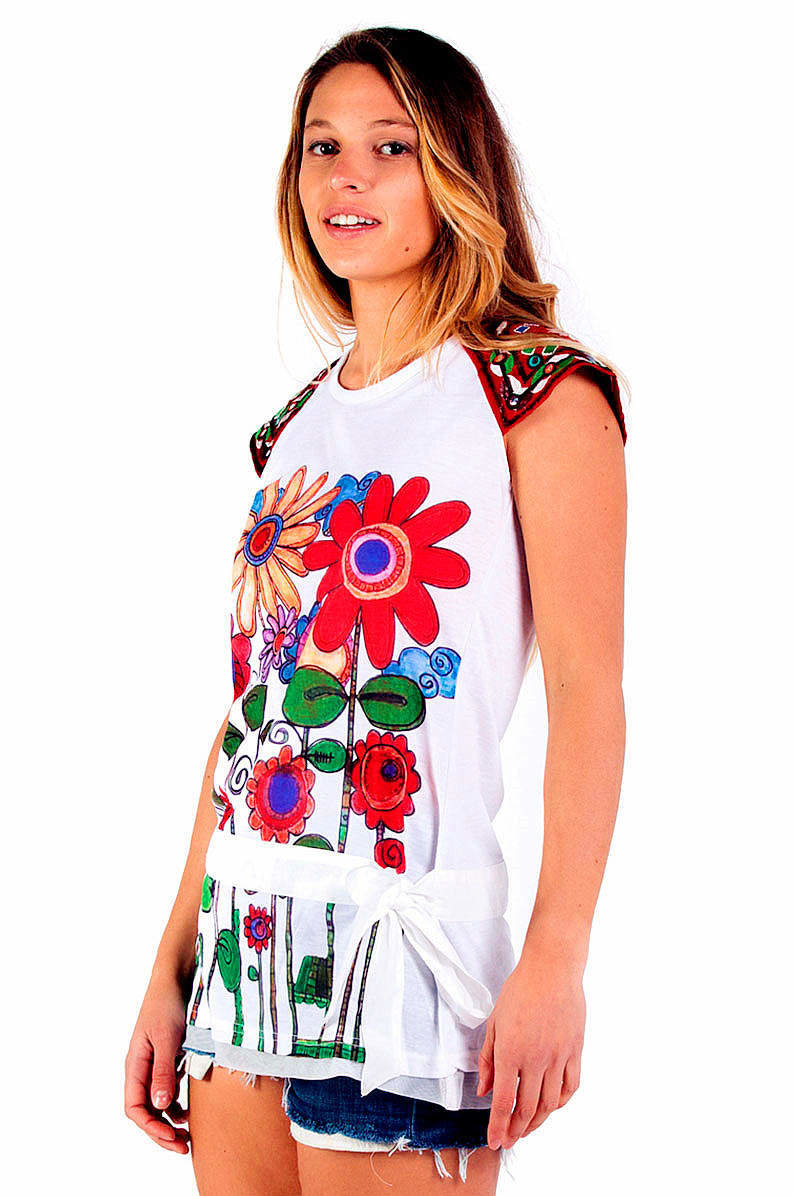Savage Culture: Red Sunflower Bodice Tied Waist Tunic