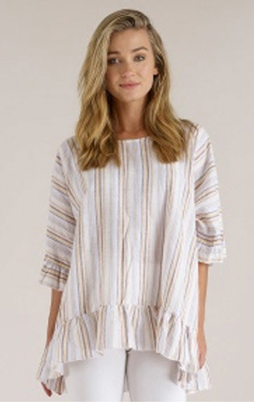 Luna Luz: Stripe High Low Ruffled Linen Tunic (More Colors, Ships Immed!) LL_M712