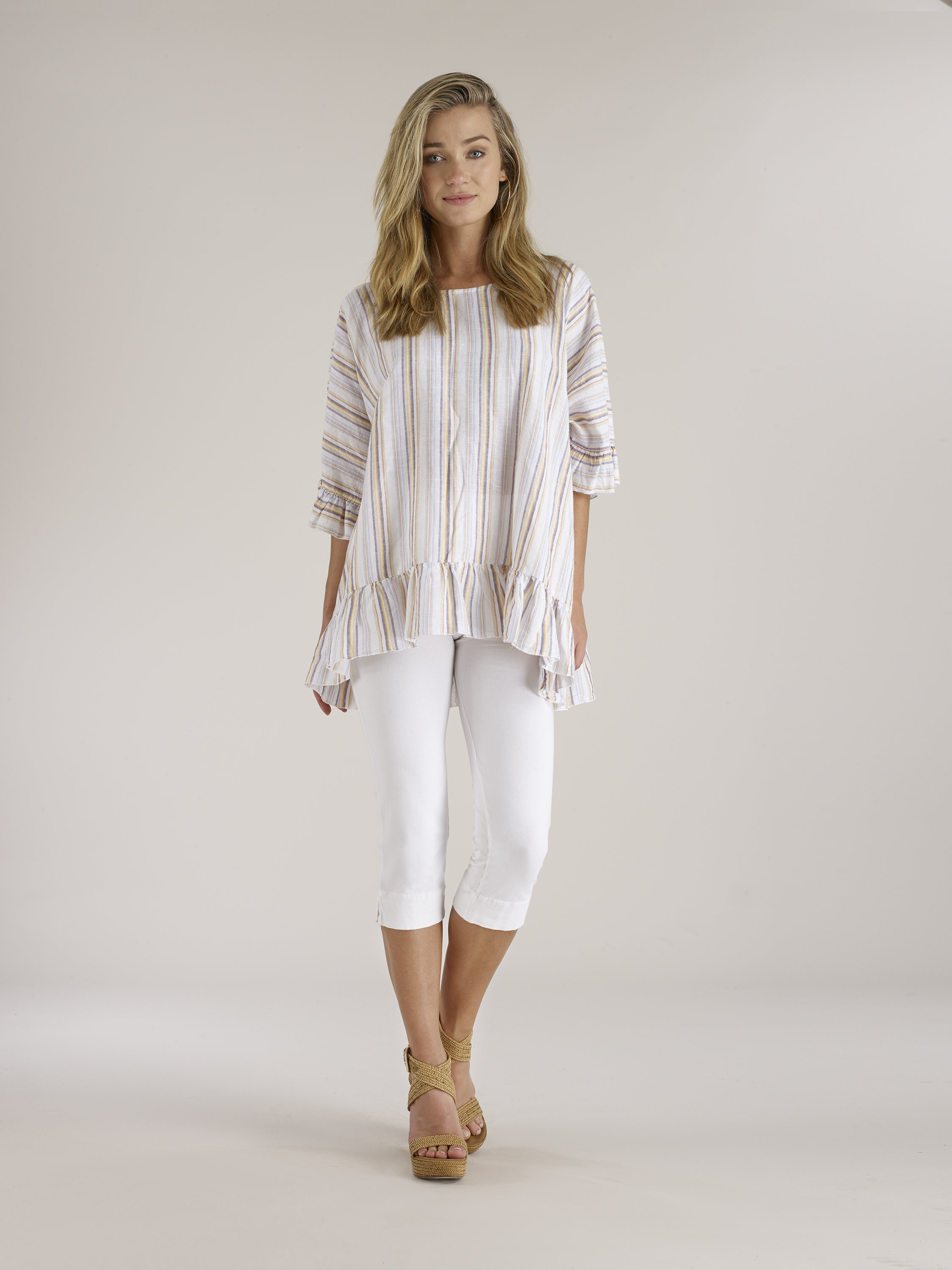 Luna Luz: Stripe High Low Ruffled Linen Tunic (More Colors, Ships Immed!)