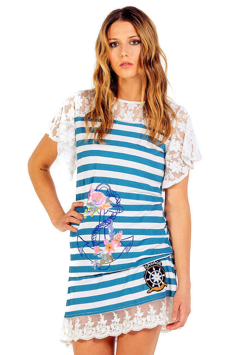 Savage Culture: Denim Roses Of Capri Yacht Dress/Tunic SAVAGE_34030