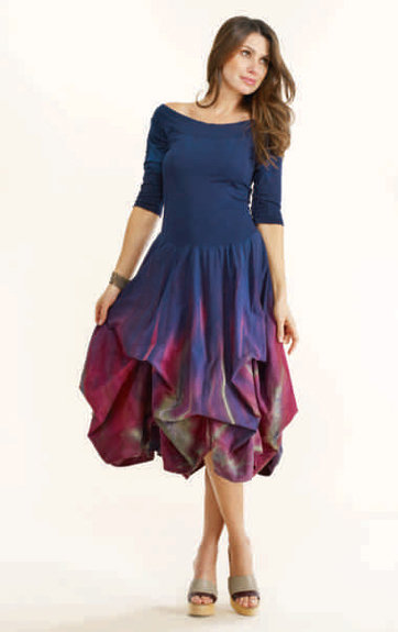 Luna Luz: Enchanting Feather Tied & Dyed Dress (Ships Immed in Rose & Black!) LL_93TF_N