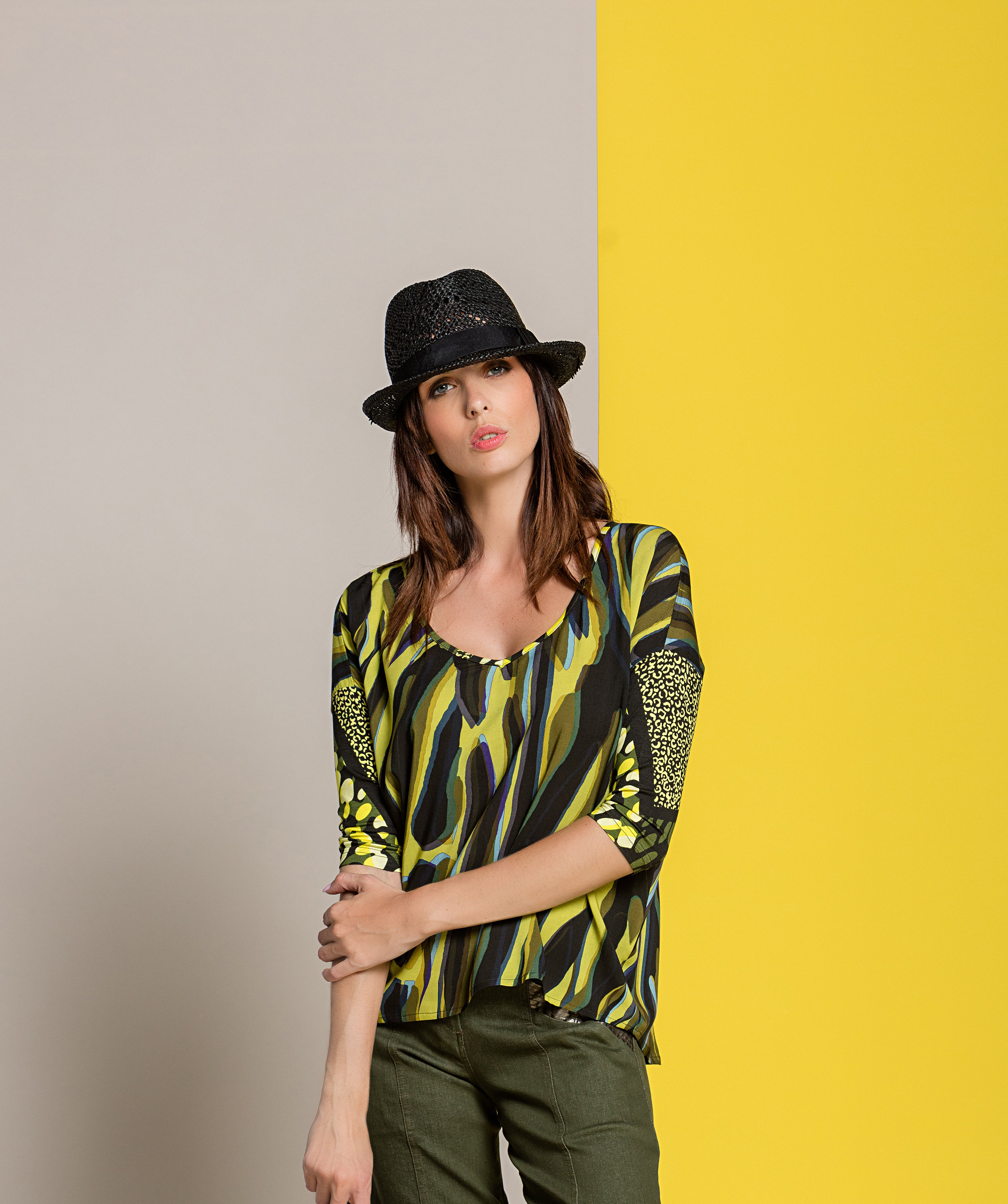 Paul Brial: Olive Martini Colorblock Asymmetrical Tunic PB_ZEBRE