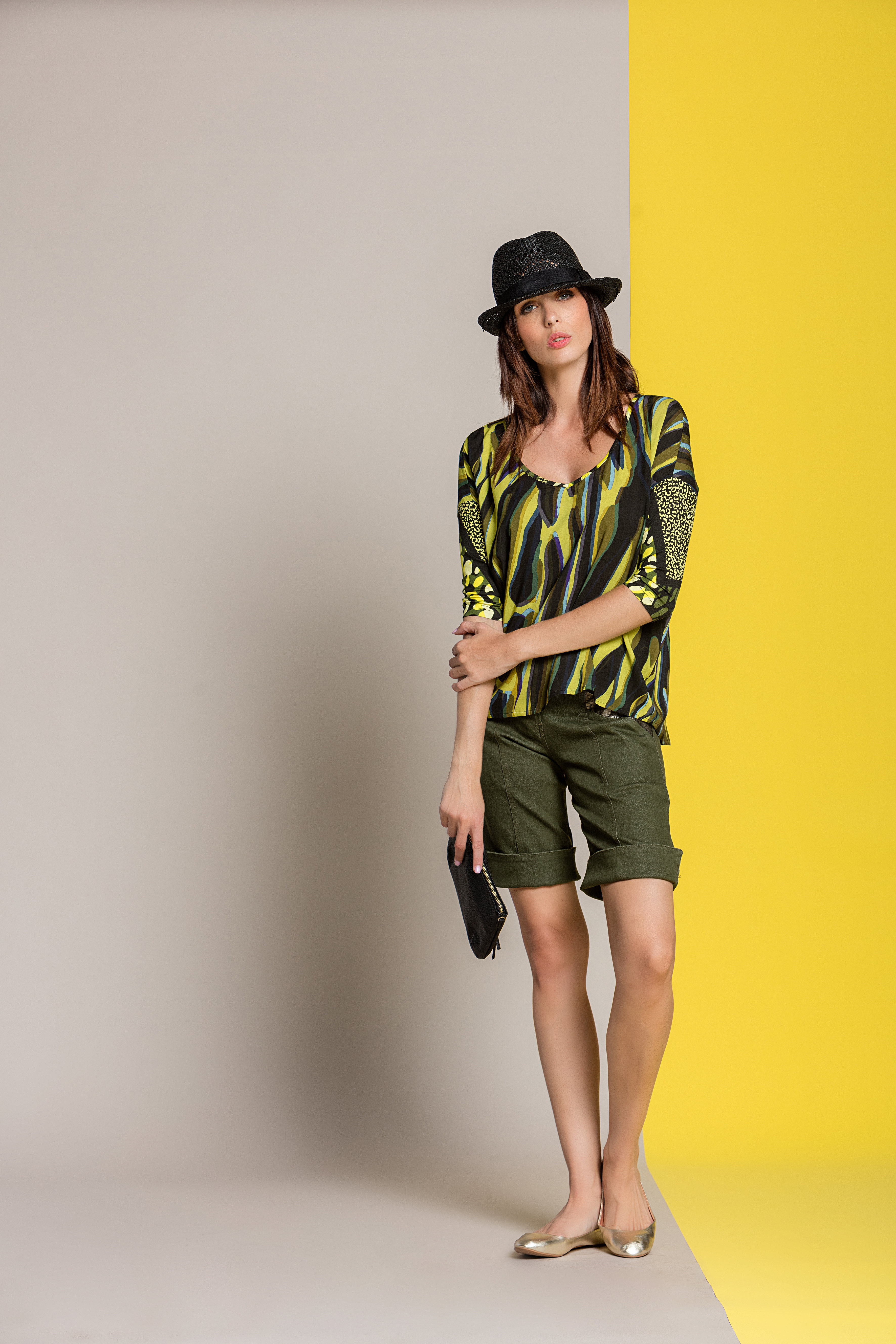 Paul Brial: Olive Martini Colorblock Asymmetrical Tunic