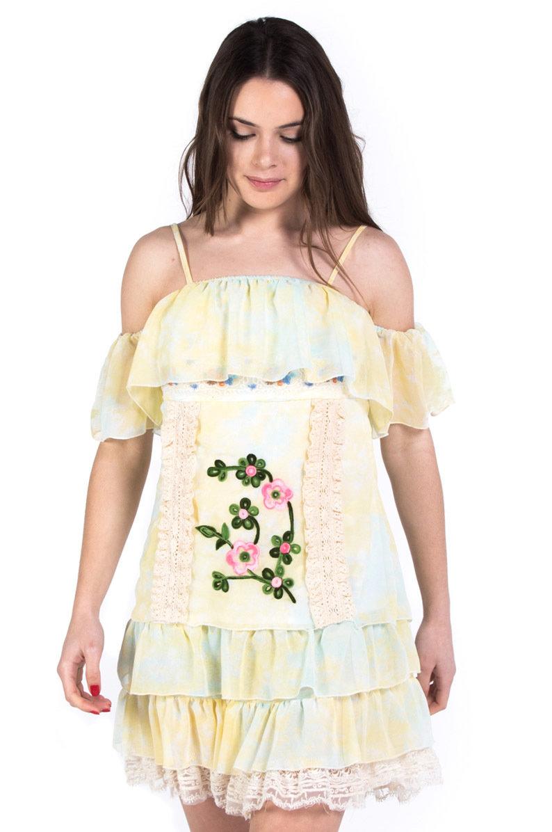 Savage Culture: So Sweet Cold Shoulder Ruffled Baby Doll Petal Dress Sicilia SAVAGE_34060