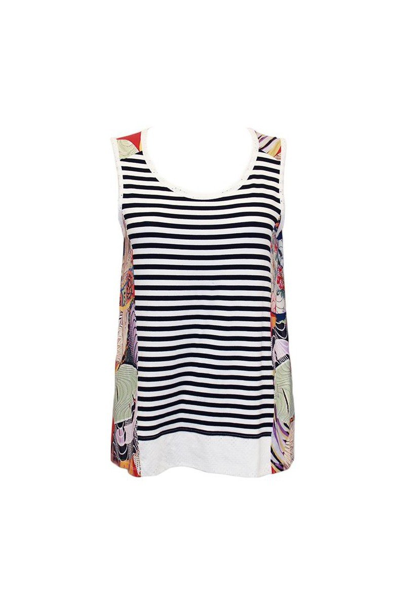 Maloka: Pieced Seashells Colorblock Flared Tunic