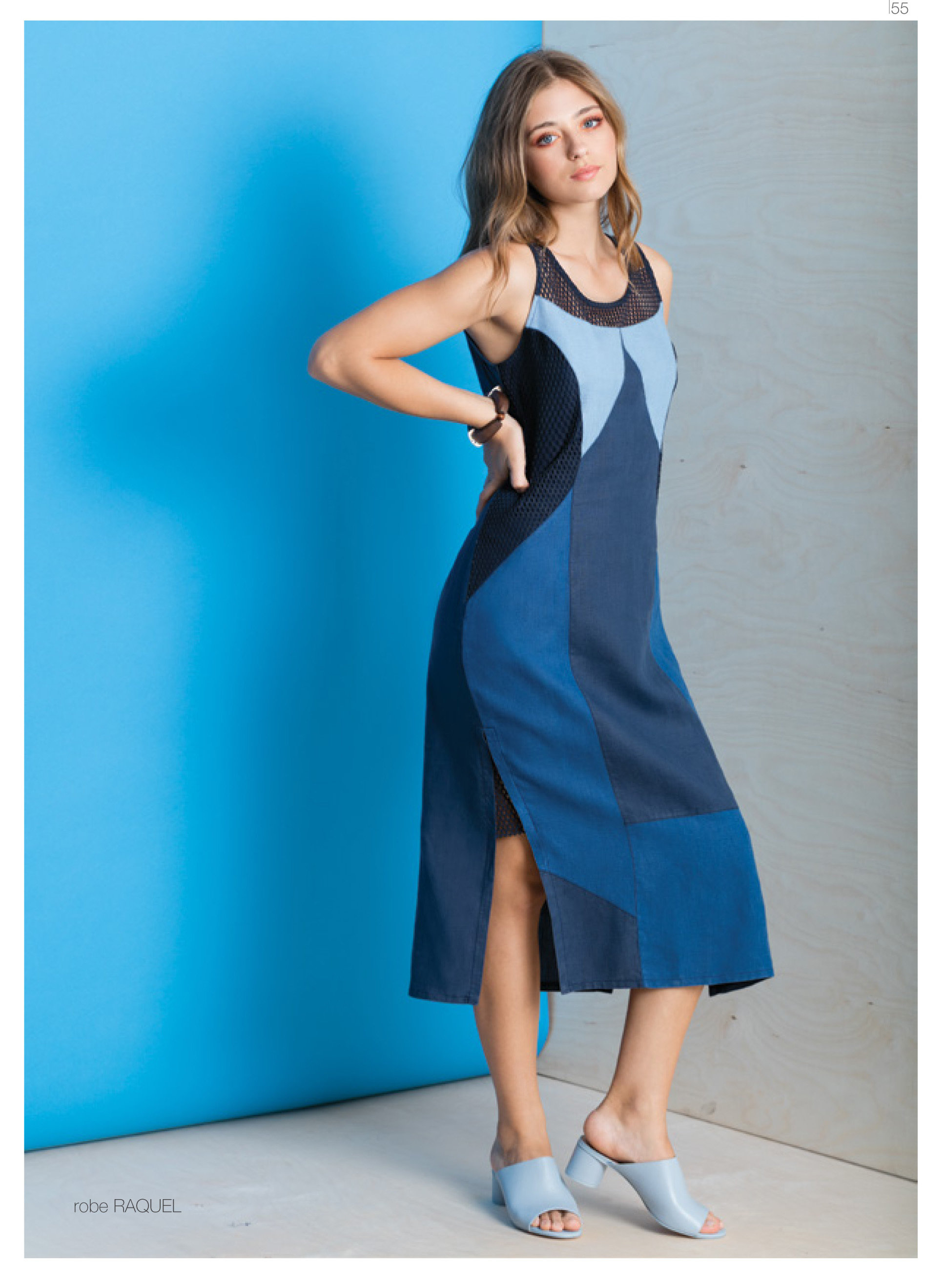 Maloka: Blue Colorblock Linen Denim Maxi Shift Dress MK_RAQUEL