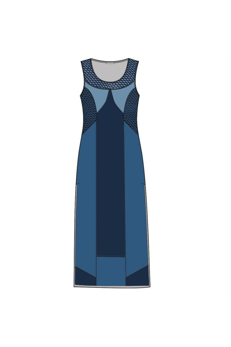 Maloka: Blue Colorblock Linen Denim Maxi Shift Dress