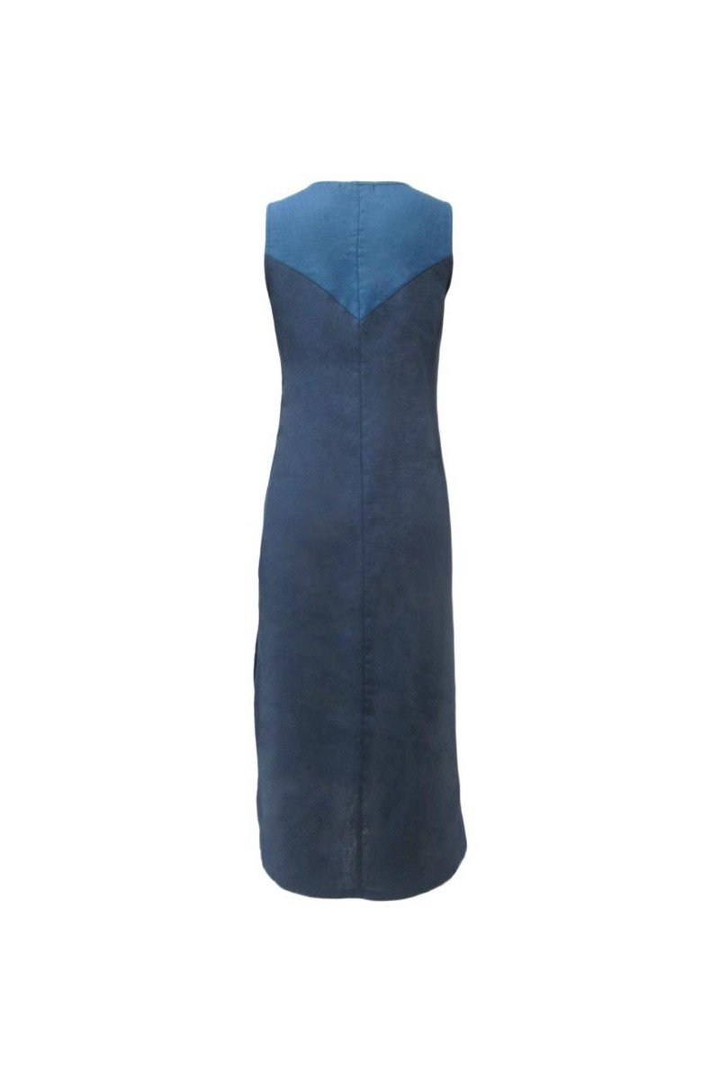 Maloka: Blue Colorblock Linen Denim Maxi Shift Dress