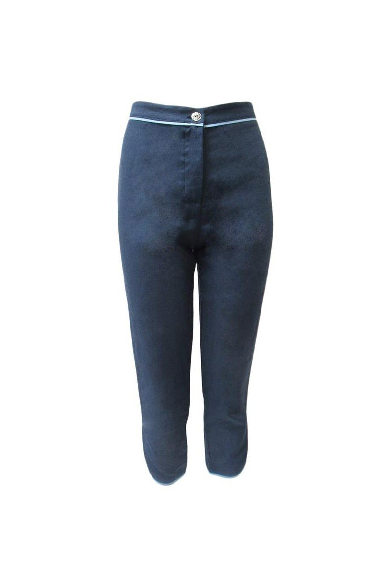 Maloka: Petal Hem Cropped Linen Denim Pant