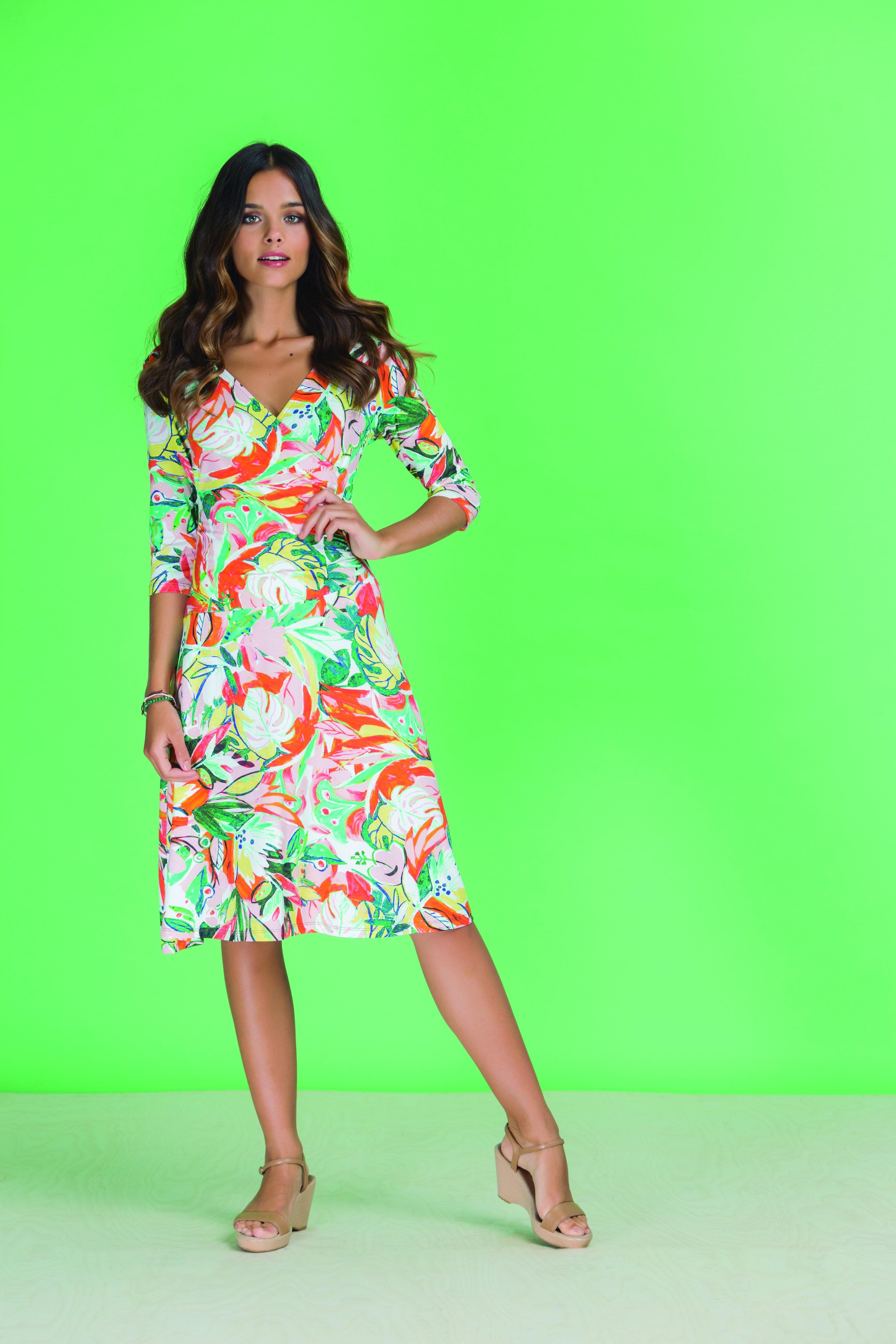 Paul Brial: Tropical Champagne Art Midi Dress PB_BAHAMAS