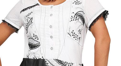S'Quise Paris: Cupcake Arabesque Print Peek-A-Boo Crinkled Midi Dress