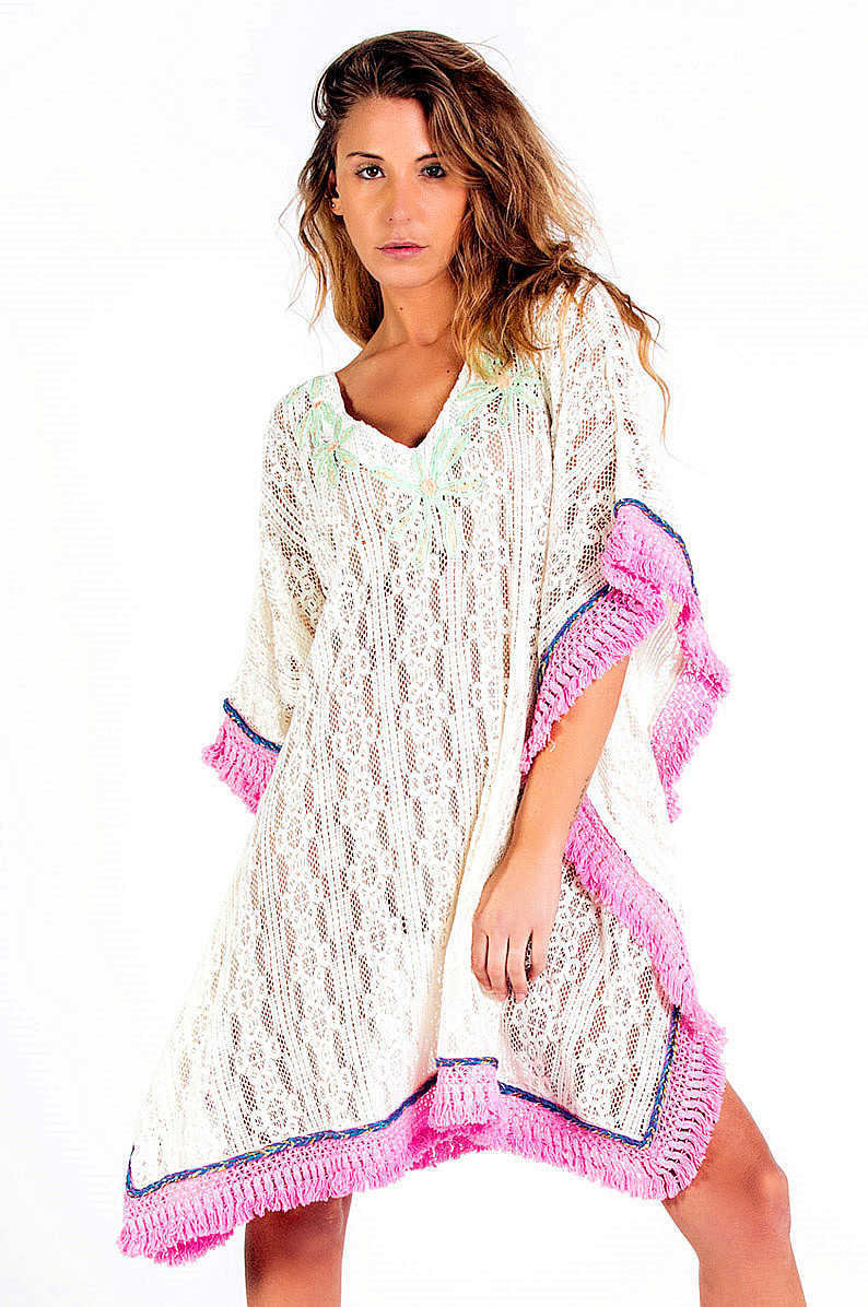 Savage Culture: Wispy Pink Soft Cotton Beach Poncho/Cover Up Dress SVG_34629