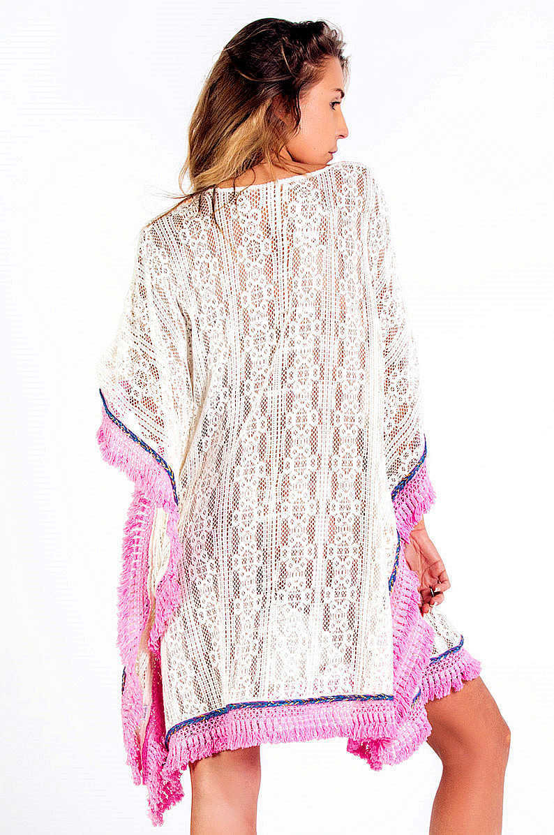 Savage Culture: Wispy Pink Soft Cotton Beach Poncho/Cover Up Dress