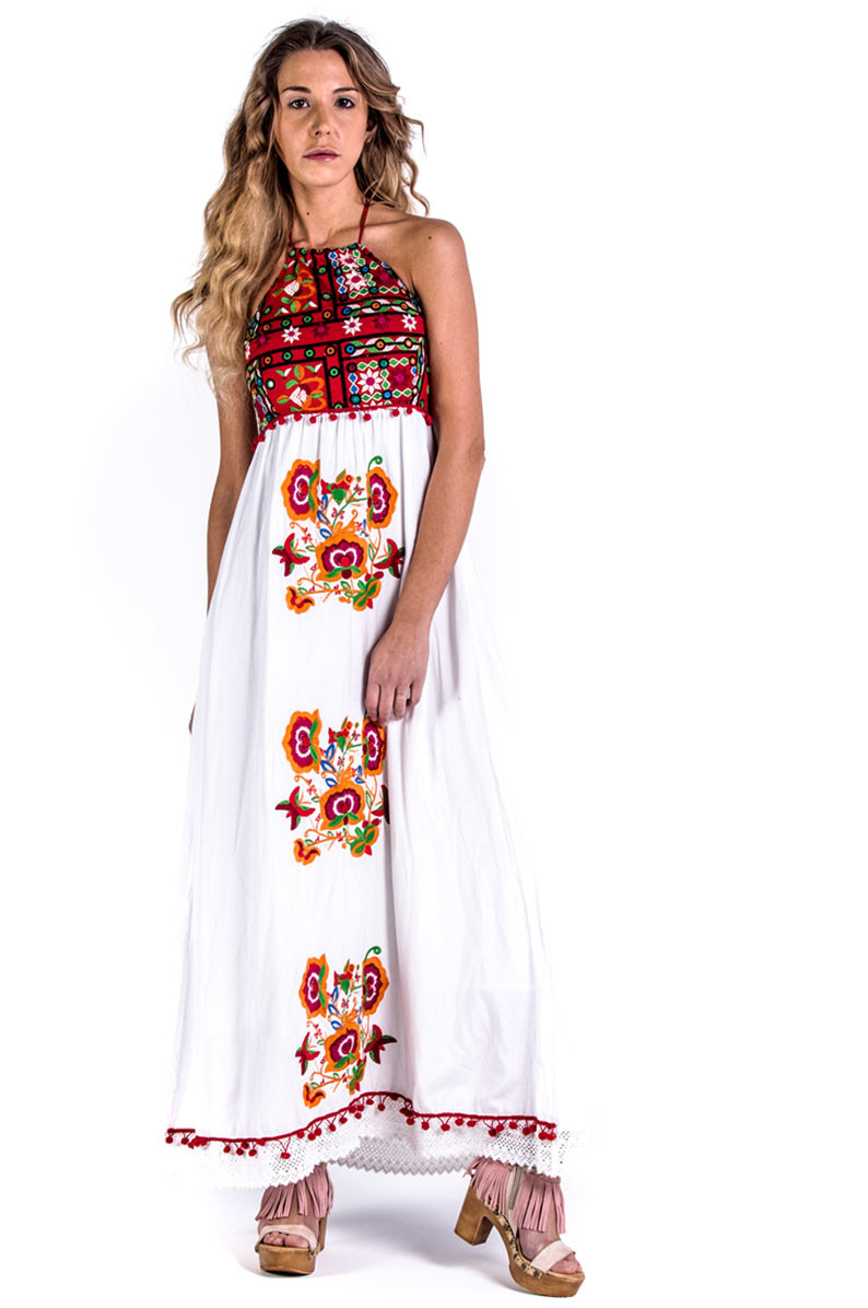 Savage Culture: Red Butterfly High Waisted Maxi Sundress Naples SAVAGE_34093